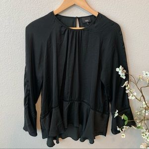 Mossimo Black Satin HighLow Long Bell Sleeve Top M